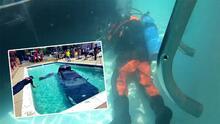 (VIDEO) Auto termina en la piscina después de que un joven confunde el pedal del gas con el freno
