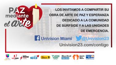 Univision 23 apoya la Paz Mediante el Arte para los afectados en Surfside